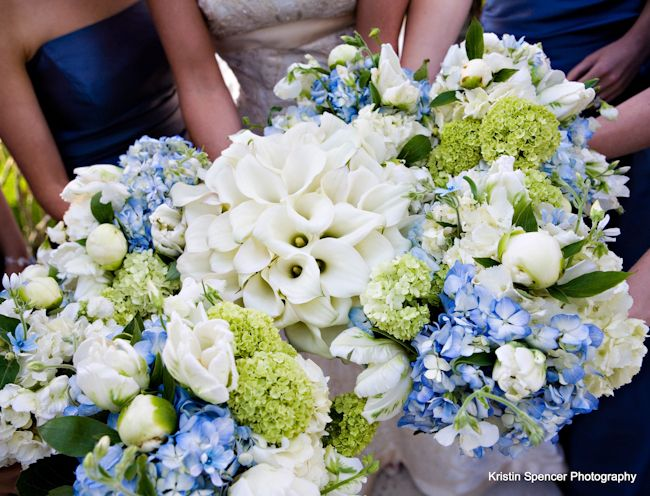 calla lilies, blue and green hydrangea, white roses, maybe some white peonies in there? - - - Stoneblossom Florals
