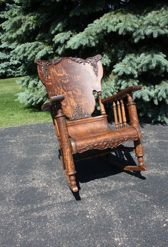Vintage Antique Oak Tiger Wood Rocking Chair Antiques