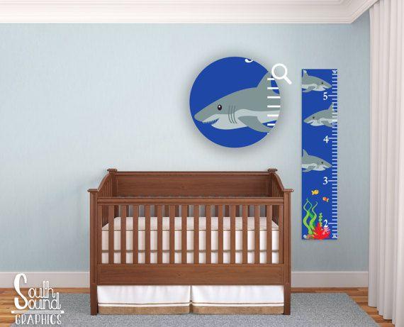 Kids Growth Chart - Under The Sea Room Wall Decor - Ocean Wall Hanging - Children's Growth Chart - Sharks, Fish, Ocean Bedroom Nursery