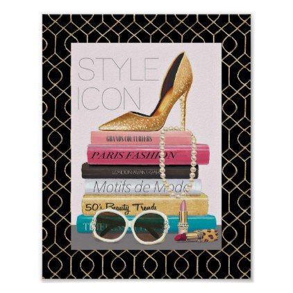 Wild Apple   Style Icon - Gold Stiletto Poster - modern style idea design custom idea