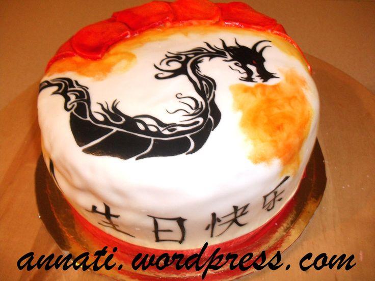 Chinese dragon inspired cake. #handpainted #china #dragon #red #food #inspiration #birthday