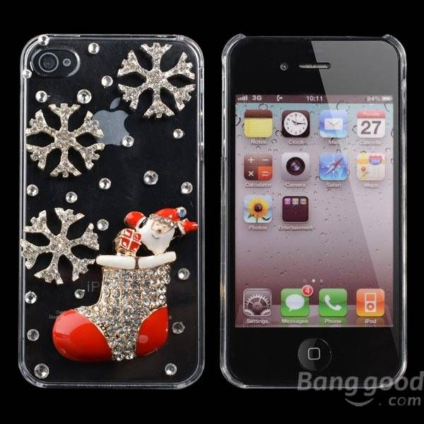 Christmas Handmade Bling Christmas Socks Shape Case For iPhone 4 4S…