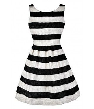 Black and White Stripe Dress, Black and Ivory Stripe Dress, Cute Black and White…