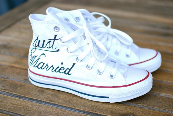 These are cute but I'm sure I could do this myself! Hand Painted Just Married Converse - Optical White Canvas Hi Top Chucks