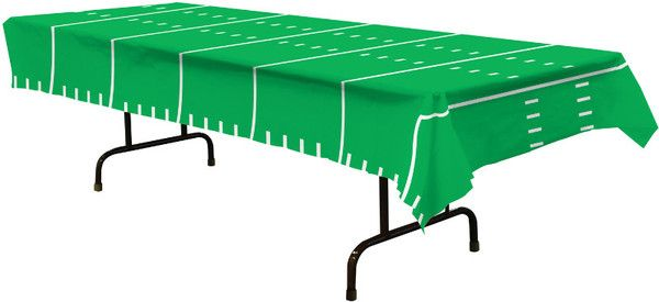 Add this Game Day Football Tablecloth to you football themed party to make it a huge success. The tablecloth looks just like a football field with yard markings