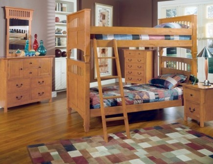 Mission Pine Bunk Bed (becomes 2 separate beds)