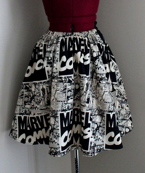 Marvel Comics Womens Skirts Comic Book Skirts Vintage by tintiara, $52.00