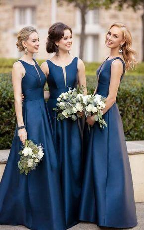 Scoop Neck Navy Blue Empire Mermaid Satin Bridesmaid Dress in 2019 ... 4503494bc26e