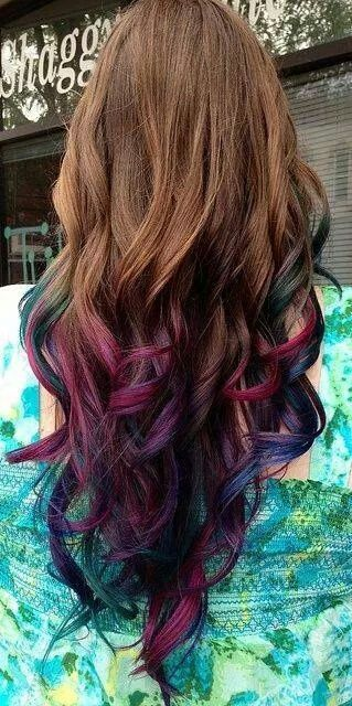 Brown hair with burgandy, purple and teal dipped tips