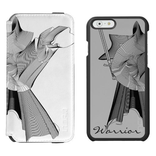 Digital Warrior Black Lineart Abstract Figure - Custom Color / Incipio Watson™ iPhone 6, 2-in-1 Wallet Case + Interior Case! #fomadesign