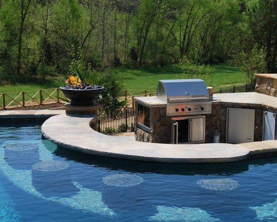swim up bar and grill area in the backyardS'Mores Bar, S'More Bar, Pools Bar, Swimming Up Bar, Tropical Pool, Dreams House, Outdoor Kitchens, Dreams Pools, Pools Design