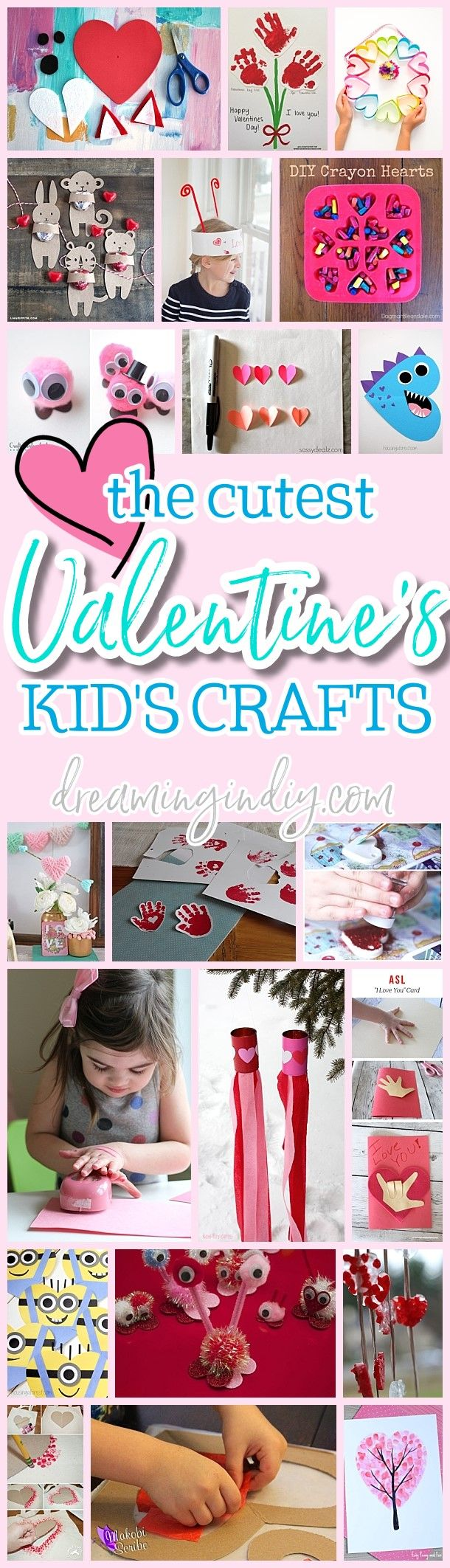 Fun and Easy Valentines Day Kids Paper Crafts Art Projects and Activities - Easy Heart Love Pink and Red tutorials for your budding little artists via Dreaming in DIY #valentinescraftsforkids #valentinespartycrafts #valentinesparty #kidsvalentinecrafts #valentinecrafts #valentinesday #valentines #kidscrafts #easyvalentinescrafts