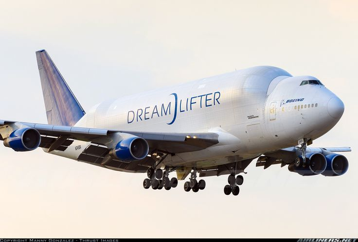 Boeing 747-409 Dreamlifter. Only 4 of these planes exist to haul 787 aircraft parts.