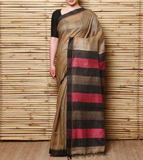 Beige & Orange Hand Woven Tussar Silk Saree