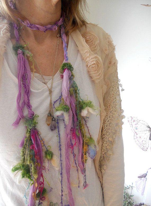 scarf soft enchanted forest fiber braid lariat di beautifulplace