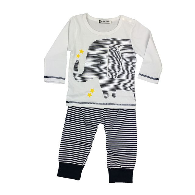 2017 Herfst Nieuwe baby kleding set cartoon olifant lange mouwen t-shirt + broek 2 stks pasgeboren baby romper Baby boy kleding