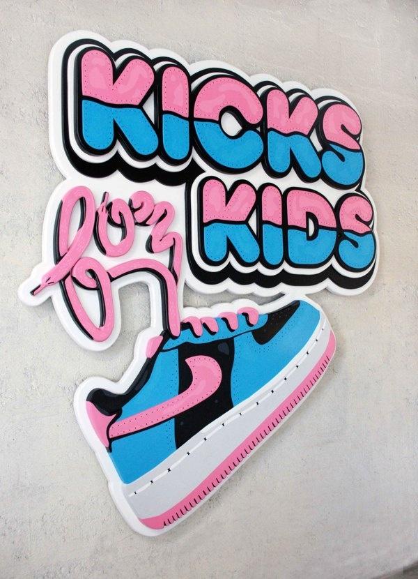 Kicks for kids sign (acrylic on wood) by Jimmy Petitet, via Behance