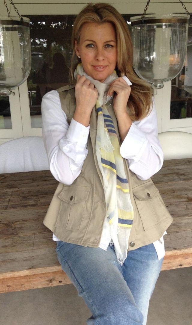Core White Shirt R800.00, Safari Waist Coat R1100.00, Yellow Espadrille Scarf R280.00, Boyfriend Jeans R860.00
