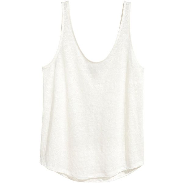 H&M Top aus Leinenjersey 9,99 ($15) ❤ liked on Polyvore featuring tops, h&m, white top and h&m tops
