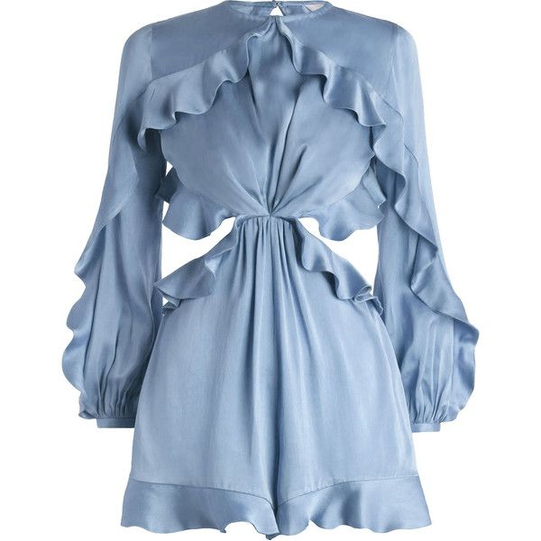 ZIMMERMANN Winsome Flutter Playsuit (1.070 BRL) ❤ liked on Polyvore featuring jumpsuits, rompers, dresses, playsuits, romper, cut-out jumpsuits, short sleeve jumpsuit, ruffle romper, short jumpsuits and blue jumpsuit