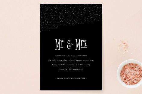 """Night Sky"" - Modern Rehearsal Dinner Invitations in Midnight by roxy."