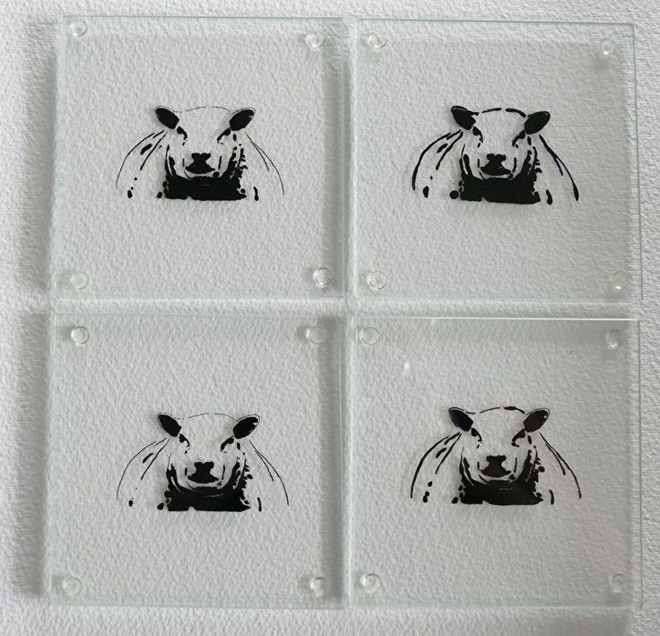 4 x glazen onderzetters schaap