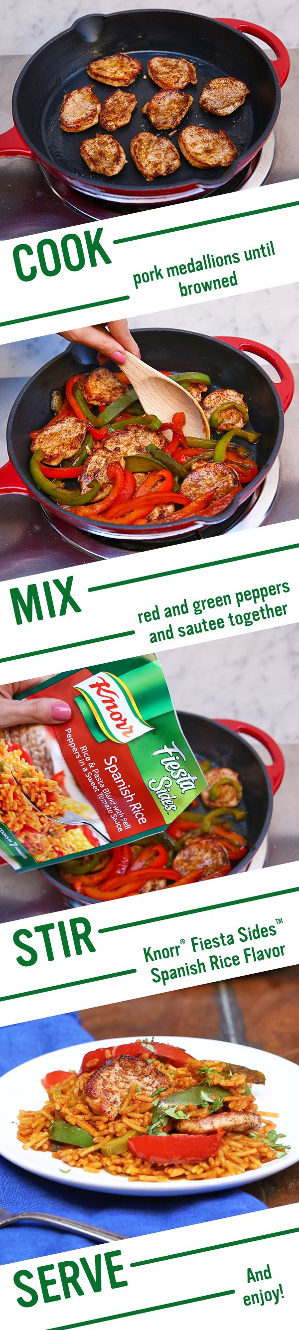 Treat your friends and family to Knorr's Spanish Pork & Rice. Follow this easy recipe: 1. Season pork with cumin, chili powder & salt. Heat olive oil in a skillet and cook meat. Set aside. 2. Cook red peppers in same pan. Stir in water Knorr® Fiesta Sides™ - Spanish Rice & pork. Bring to a boil and simmer. 3. Add jalapeño, sprinkle with cilantro, and serve. Enjoy!