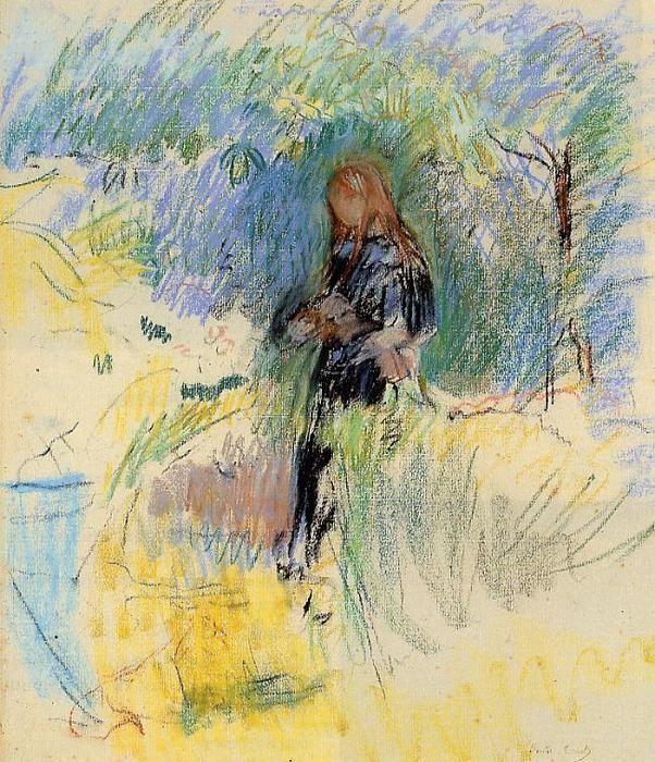 Jeune femme tenant un chien dans ses bras, dessin de Berthe Morisot (1841-1895, France)