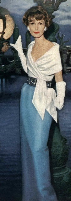 Mary Jane Russell in a Lanvin-Castillo gown, Vogue 1957