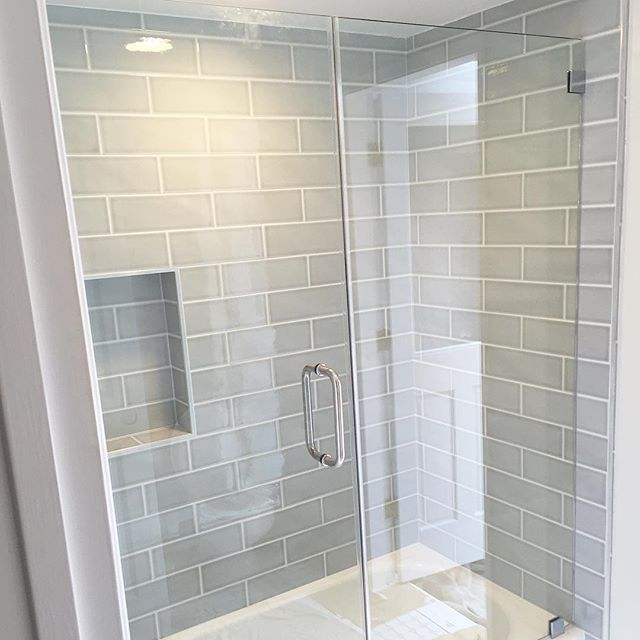 shower wall tile gray blue subway - Bathroom Gray Subway Tile