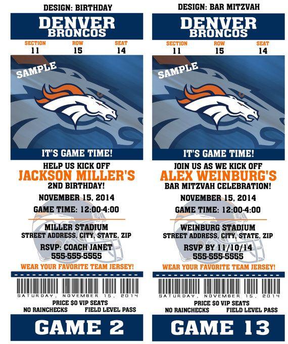 Printable Birthday Party Invitation Card Denver Broncos ...
