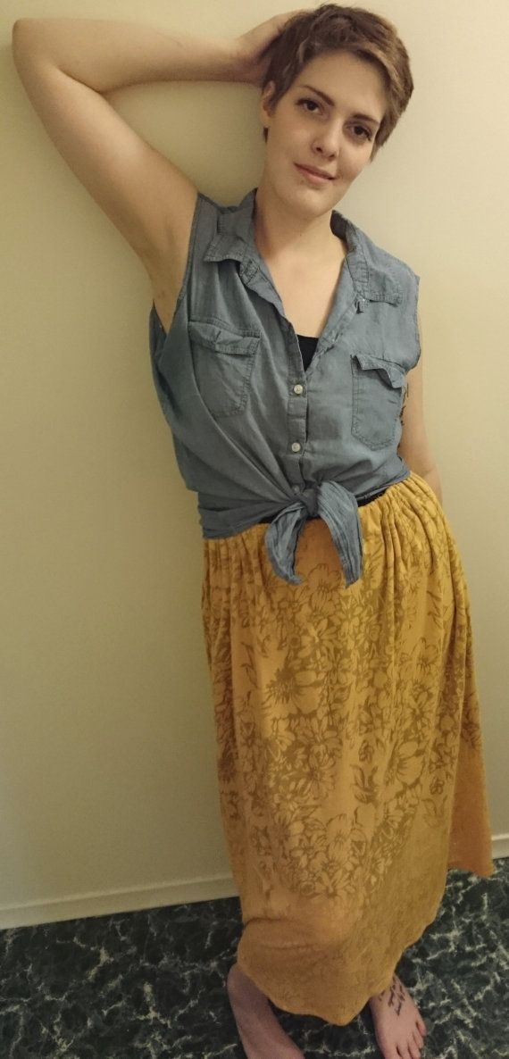 """Embossed Gold Floral Knit Cotton Skirt- $30.00 100% Cotton Fits Waists 30""""-36"""""""