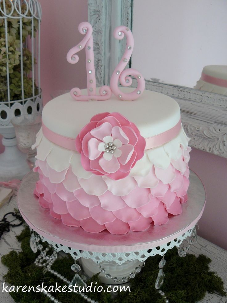 Sweet 16 Cakes Pinterest Ombre Birthday Cakes And Sweet