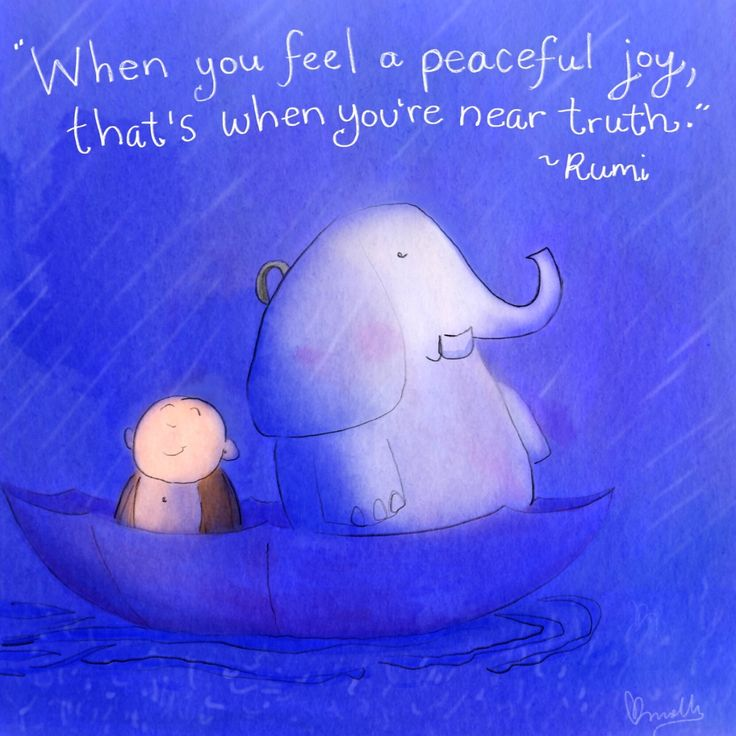 """""""When you feel a peaceful joy, that's when you're near truth."""" Rumi #BuddhaDoodles"""