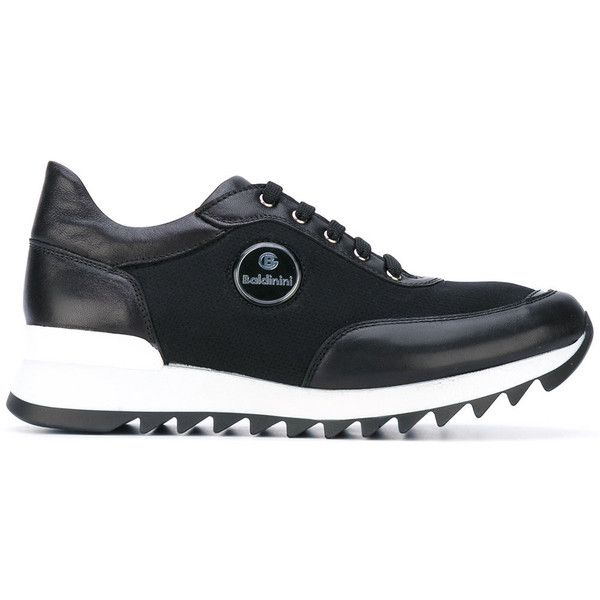 Baldinini lace-up trainers (28.760 RUB) ❤ liked on Polyvore featuring shoes, sneakers, black, leather lace up shoes, black lace up sneakers, lace up shoes, black shoes and black leather trainers