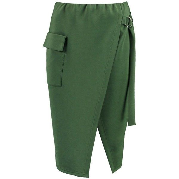 Boohoo Kellie Pocket Front O Ring Belted Midi Skirt (815 RUB) ❤ liked on Polyvore featuring skirts, belted maxi skirt, evening maxi skirt, mini skirts, maxi skirts and green skirt