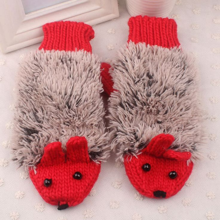 Women Warm Winter Gloves Girl Lady Full Finger Cute Hedgehog Thick Mittens Glove