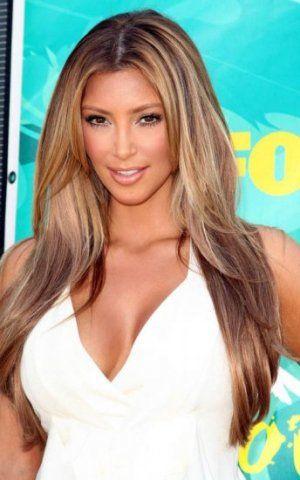 kim kardashian light brown blonde highlights Brown Hair With Blonde Highlights