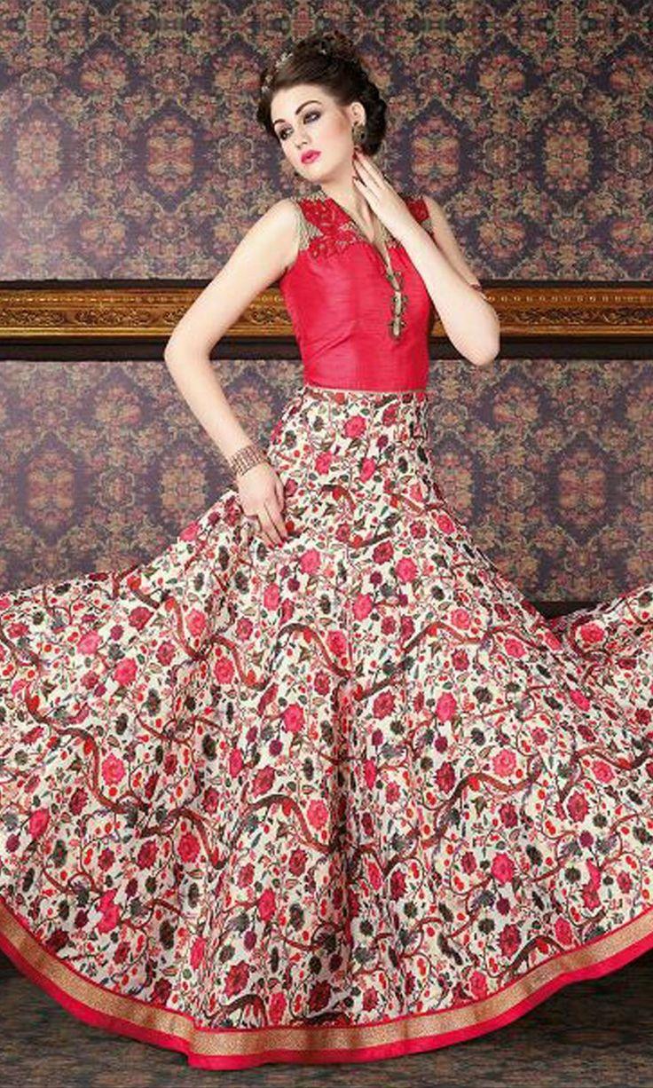 Magenta and Cream Hued #Partywear #Anarkali Suit - SUEBRVIO6536_4708