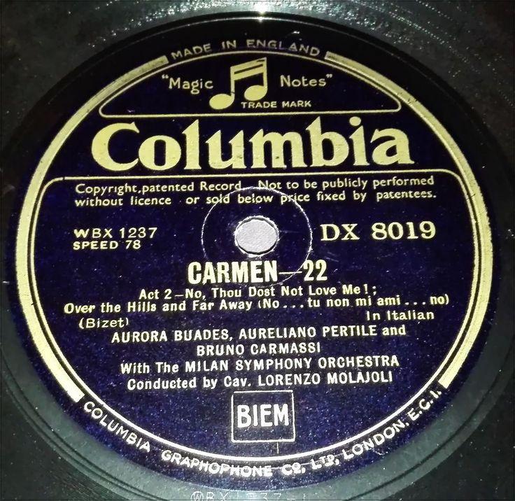 Columbia. Black & Gold Label. Carmen 22 & Carmen 27. WBX 1237 / DX 8019. 78speed
