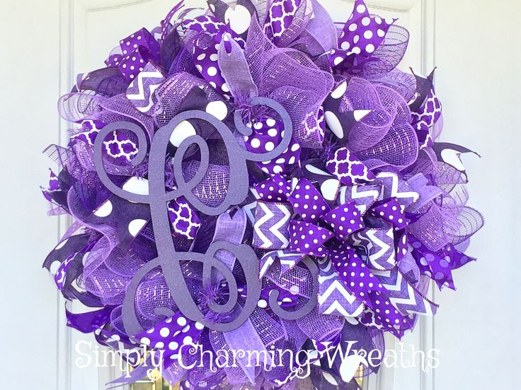 Deco mesh purple monogram wreath, purple wreath, Monogram wreath, Mother's Day wreath, Mother's Day gift idea