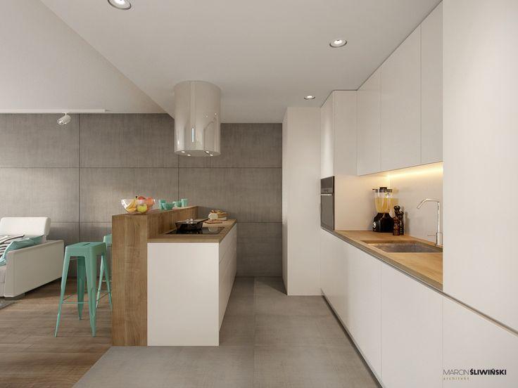 Kitchen - modern kitchen in teh small flat ; interior designer,architect Marcin Śliwiński Poland;  Source: https://www.facebook.com/architectmarcinsliwinski?fref=ts