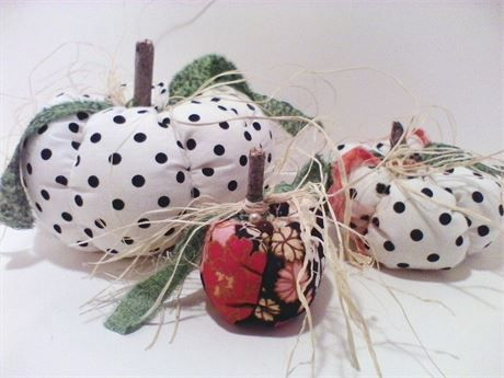Happy Polka Dot Thanksgiving, Fabric Pumpkins, Home Decor, Handmade, Cottage Chic, Country Decor, Home and Living, Made in the USA, Fall This sale includes all three of these precious pumpkins. My pumpkin patch had an over abundance of pumpkins........ I love each of them......I created each by hand.....each stitch.... They measure 7X4, 2 1/2 X 5 and 2 by 2 1/2. I did use hot glue to add the final parts. I did include some items to add a special touch.... I have buttons on the botto...
