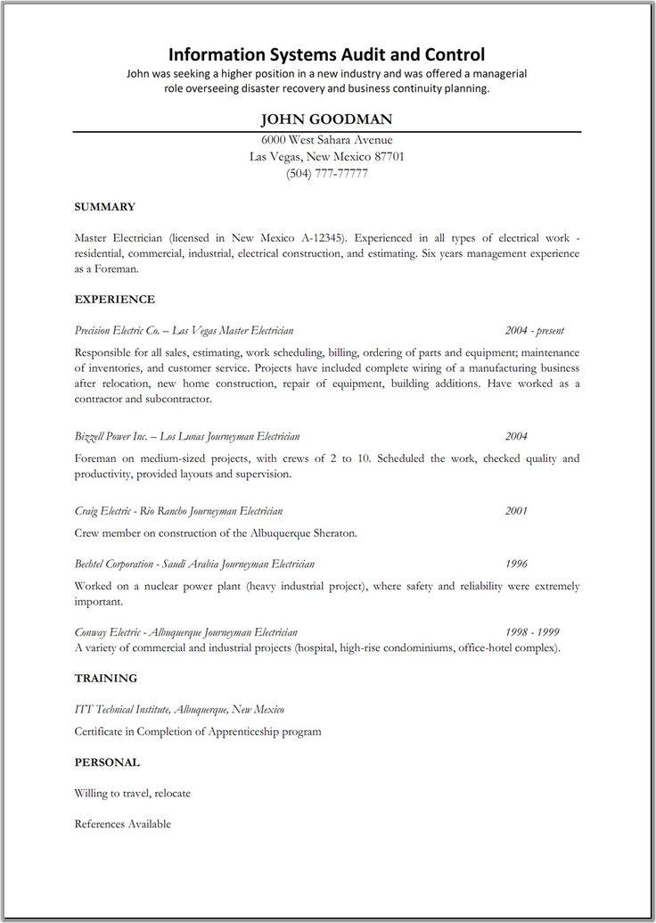 Image from http://www.samplesresume.net/wp-content/uploads/2015/05/16-Electrician-Resume-Examples-6.jpg.