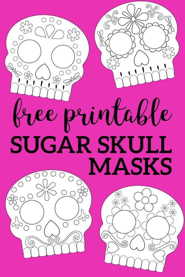 Day Of The Dead Masks Sugar Skulls Free Printable Paper Trail Design Day Of The Dead Mask Printable Halloween Masks Halloween School Treats