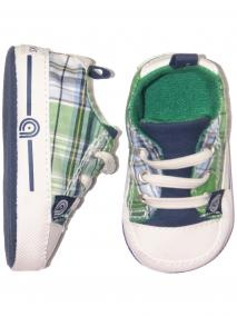 Baby Boys Soft Sole Plaid Sneakers with Faux Elastic Laces - Akademiks - stp2704 - Blue/Green in Blue/Green