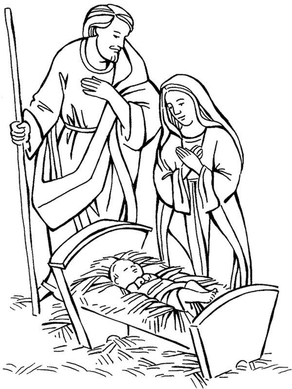 Nativity Jesus Born Scene Coloring Page
