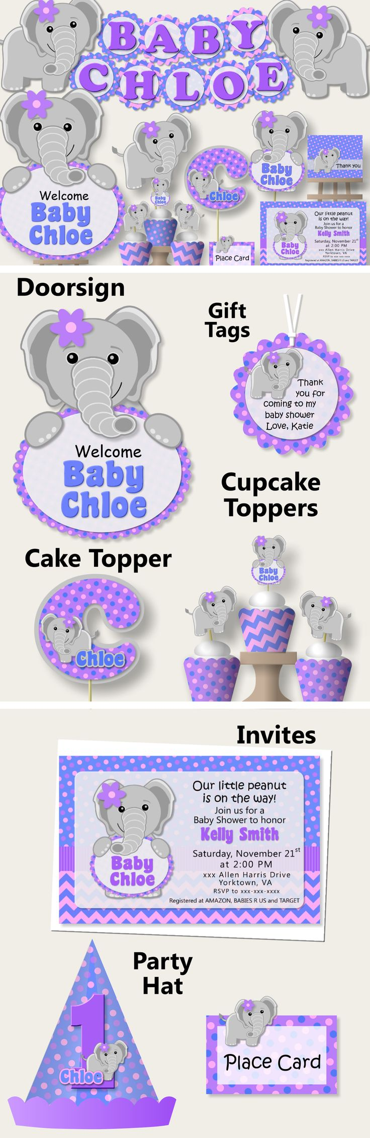 purple baby girl elephant baby shower or first birthday party package