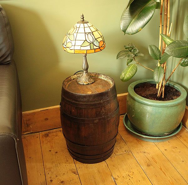 Vintage Small Wooden Barrel End Side Table
