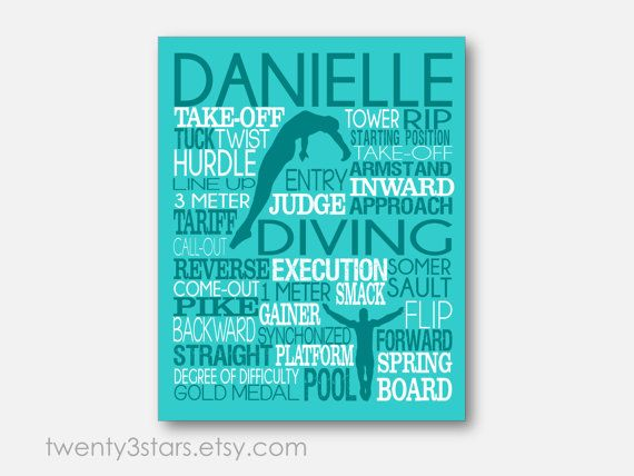 Women's Diving Typography Art Print perfect for Girl's Room Art, You Choose the Colors, Makes a Great Gift for any Diver or Diving Team Gift in Aqua and White